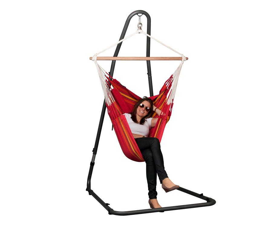 set chaise hamac rouge hauteur totale 155 cm jardin chaise hamacs citysigner. Black Bedroom Furniture Sets. Home Design Ideas