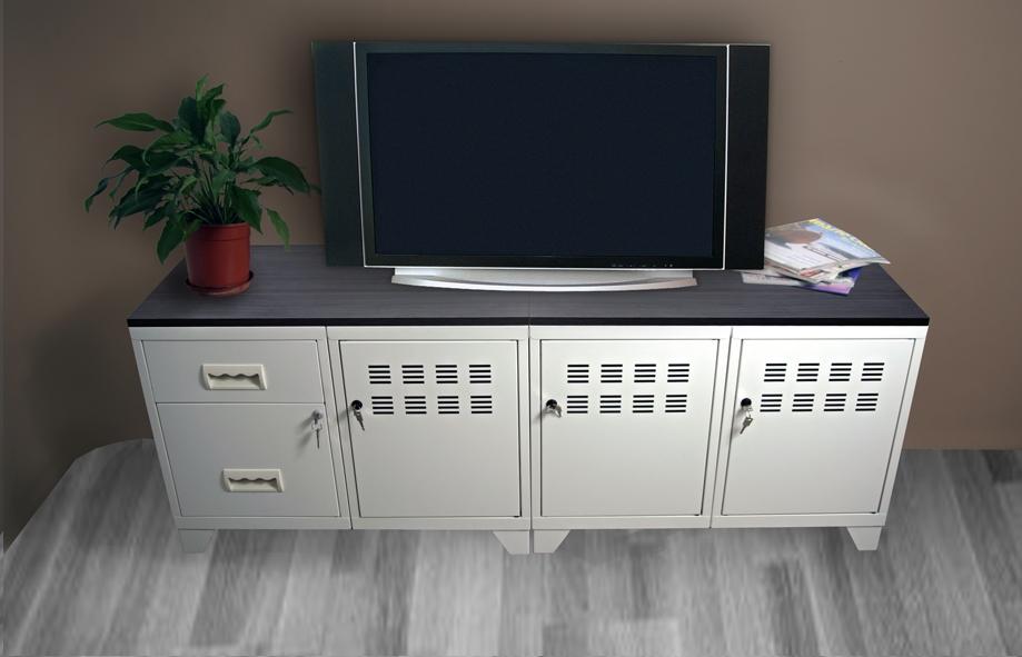 meuble tv 3 portes et 2 tiroirs pierre henry mm rangements meuble tv. Black Bedroom Furniture Sets. Home Design Ideas