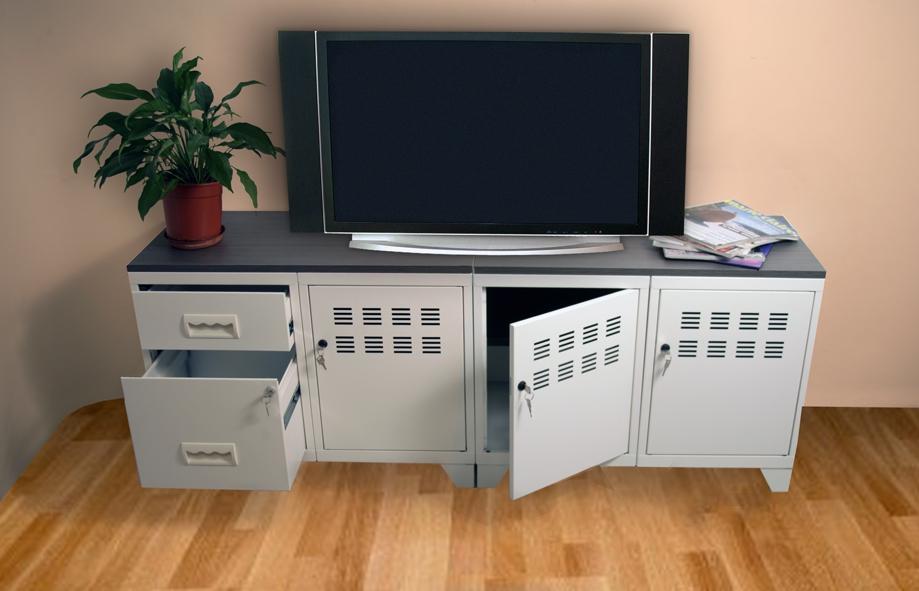 meuble tv 3 portes et 2 tiroirs pierre henry l1600xprof. Black Bedroom Furniture Sets. Home Design Ideas