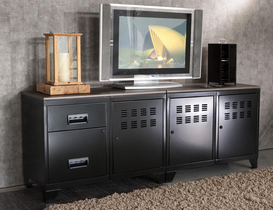 meuble tv 3 portes et 2 tiroirs pierre henry mm rangements meuble tv. Black Bedroom Furniture Sets. Home Design Ideas