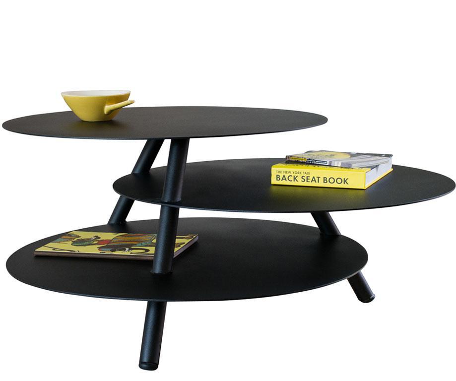Table basse big trio en acier 3 en 1 noir d60 x h42 x for Table basse acier noir