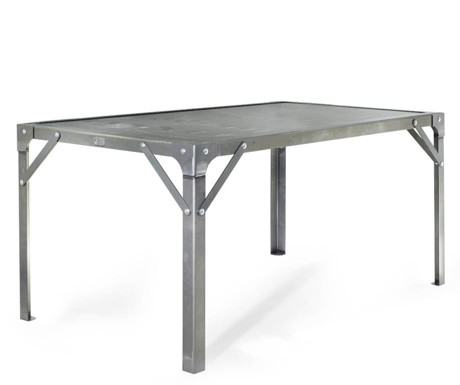 Table manger atelier en acier de 6 personnes l1510 x for Table salle manger art deco